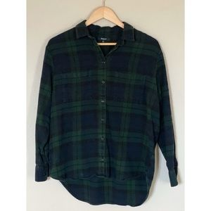 Madewell Navy Hunter Green Plaid Flannel small